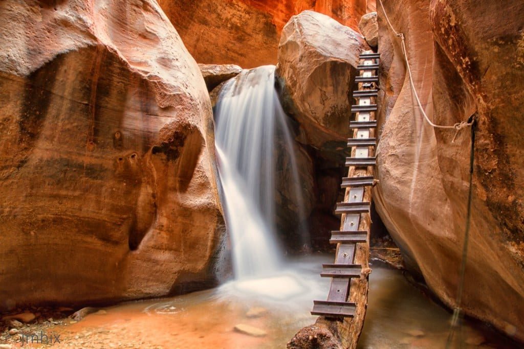 Things to do while Staying near Zion National Park: Kanarraville Falls 1st ladder Utah USA