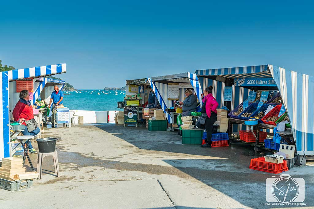 The Cancale Oyster Market - Marche aux Huitres at the Port in Cancale France
