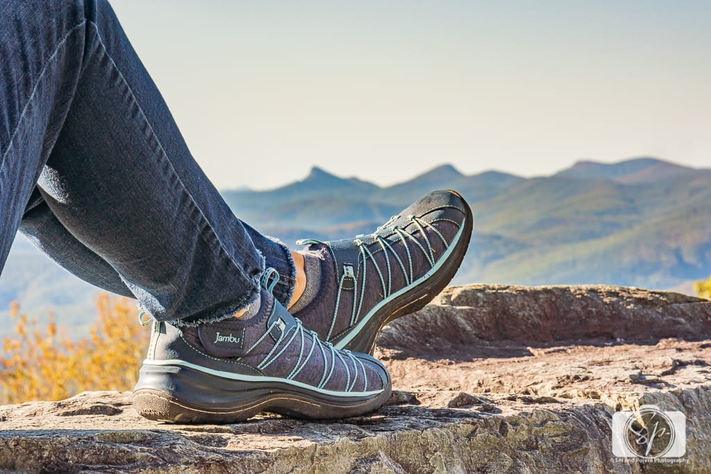 Cool shoes for fall and winter - Andi and her Jambu Spirit Encore in Navy at the Blue Ridge Parkway