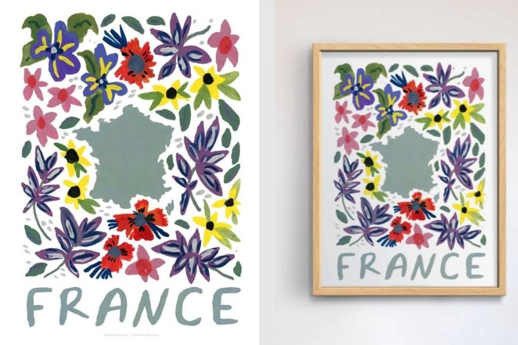 France Gouache Print