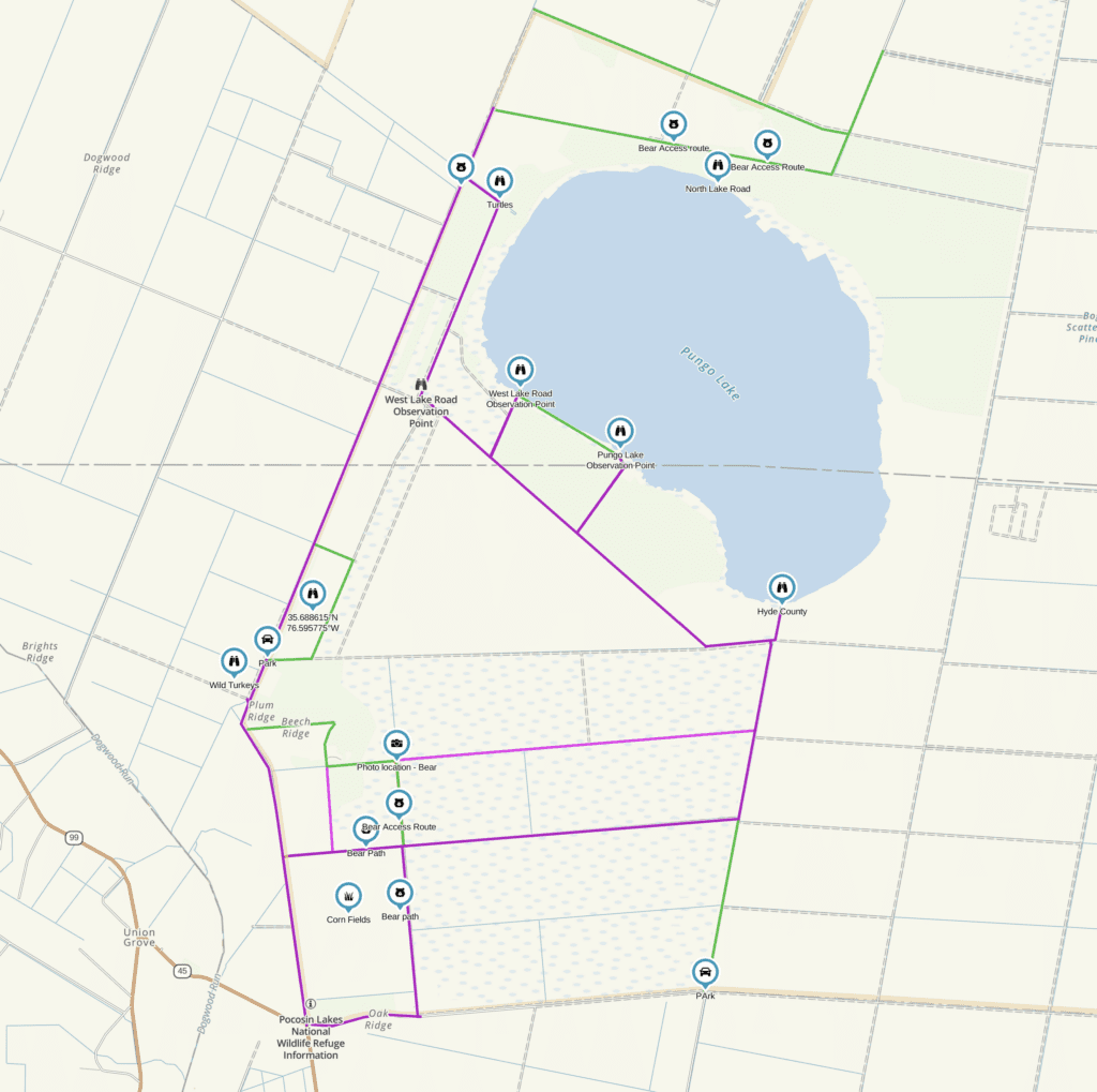 Pungo Unit of Pocosin Lakes National Wildlife Refuge map