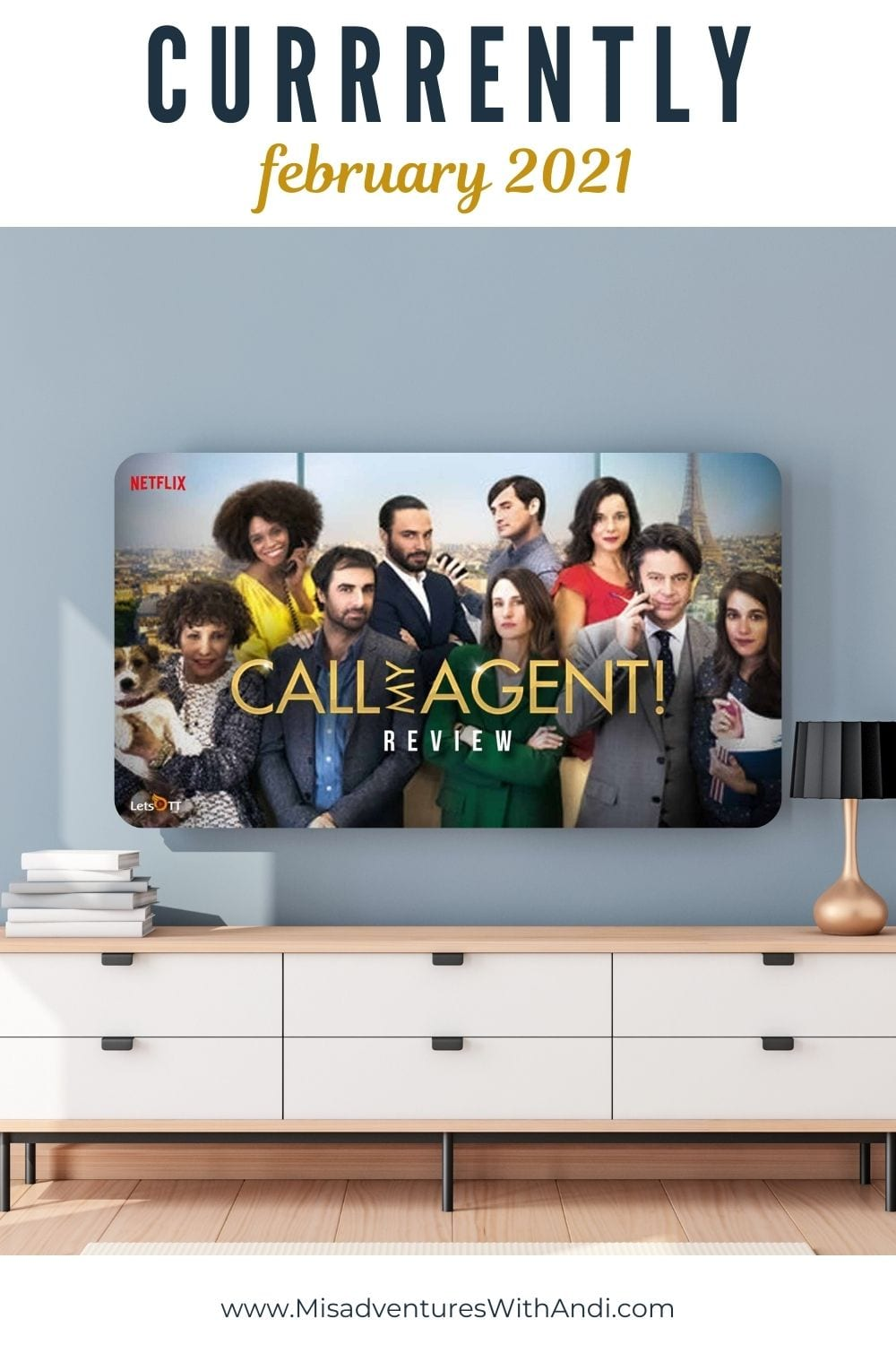 TV with Call My Agent on and a white entertainment center