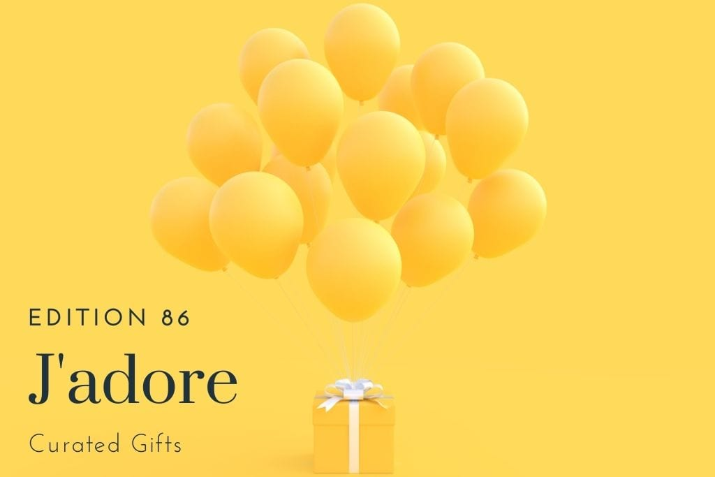yellow present with yellow balloons