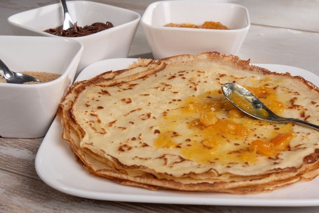 photo of stack of crepes
