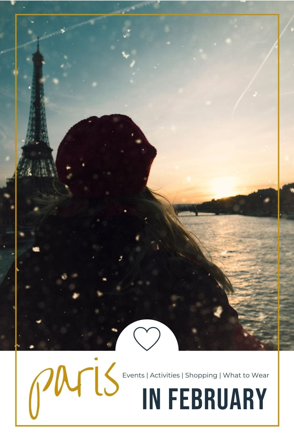 girl in snowy weather looking at the eiffel tower in a distance