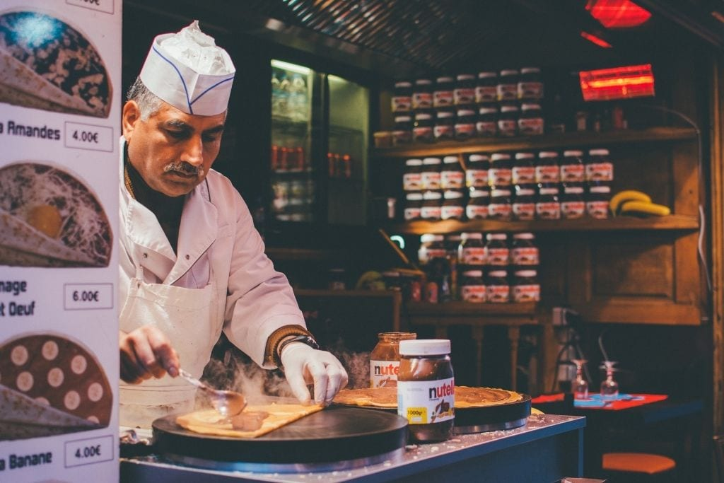 Crepes being made in Paris