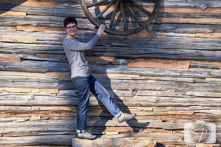 Andi in Jambu Juliet in charcoal at Yates Mill wagon wheel