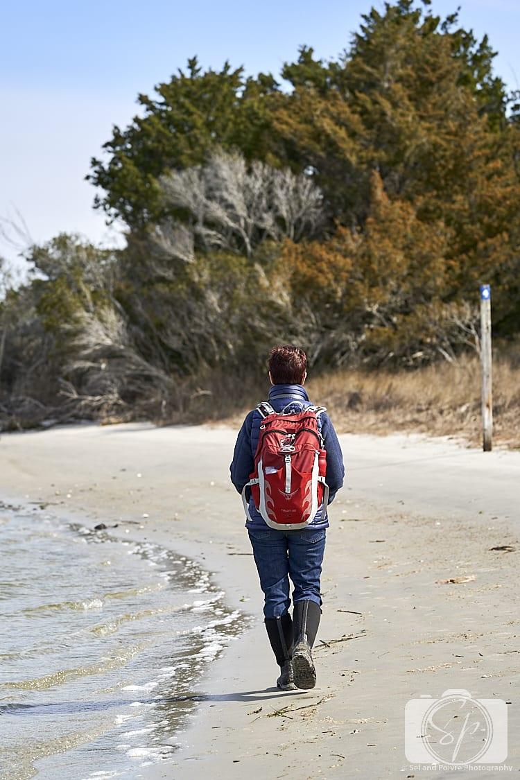 Andi walking on Carrot island Beach