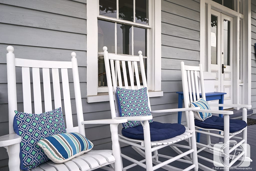 Blue chairs on front porch of home in Beaufort North Carolina