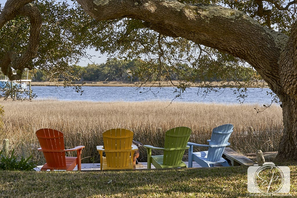 Colorful Chairs facing Carrot Island on Front Street in Beaufort North Carolina