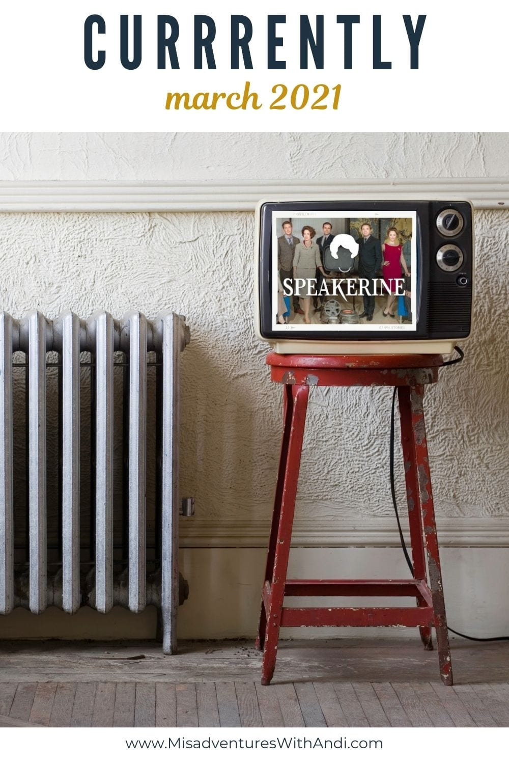 vintage tv on a stool next to a radiator