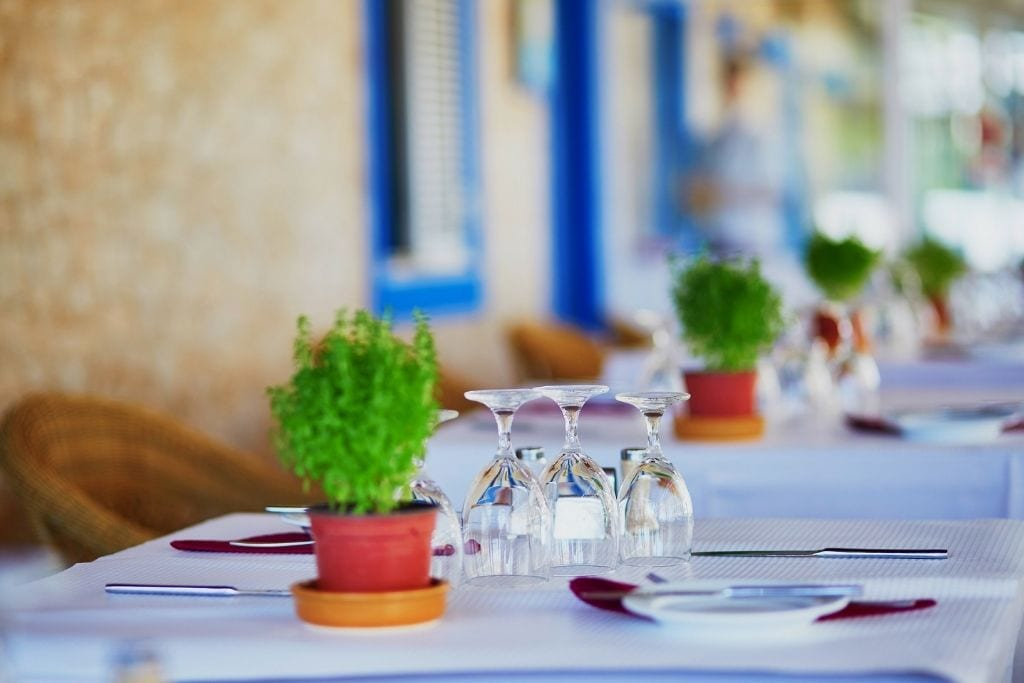 terrace table in Paris