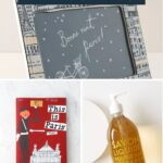 collage of gifts for francophiles: books, clothing, toys
