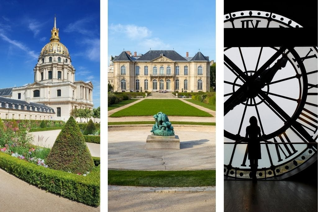 collage of les invalides, rodin museum and orsay museum in paris