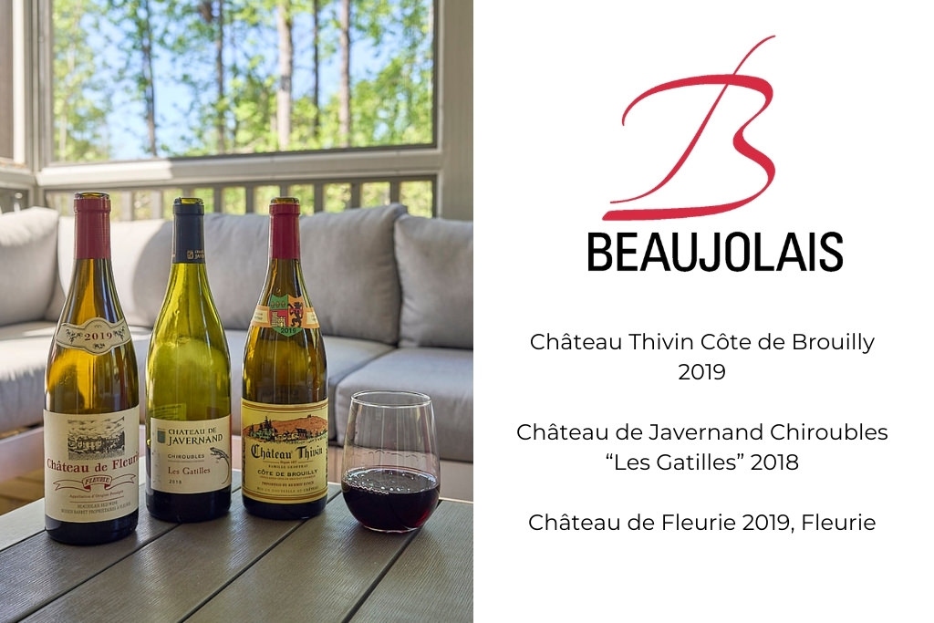 3 Beaujolais Wines on table