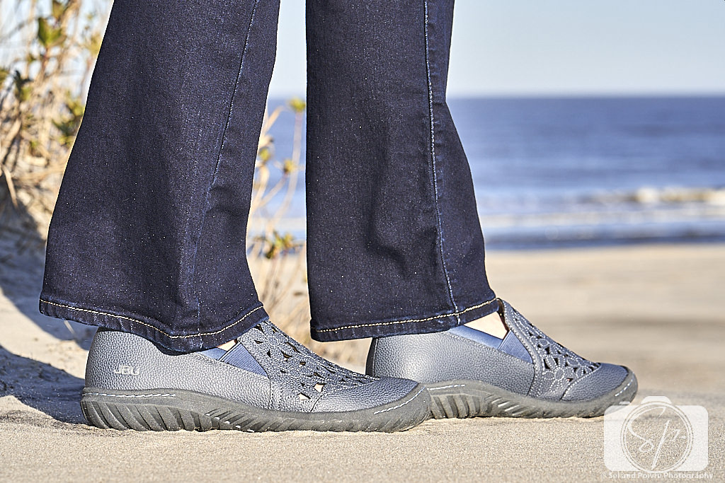 Jambu Wildflower Moc in blue close-up at Outer Banks