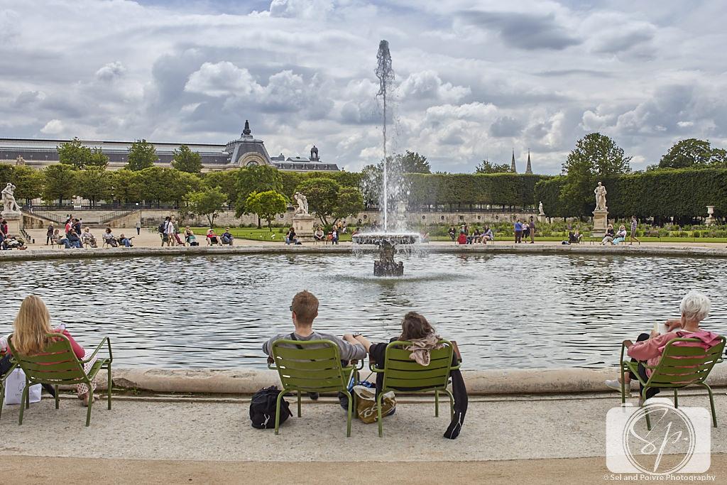 People in Paris Park Chairs in Tuileries Garden