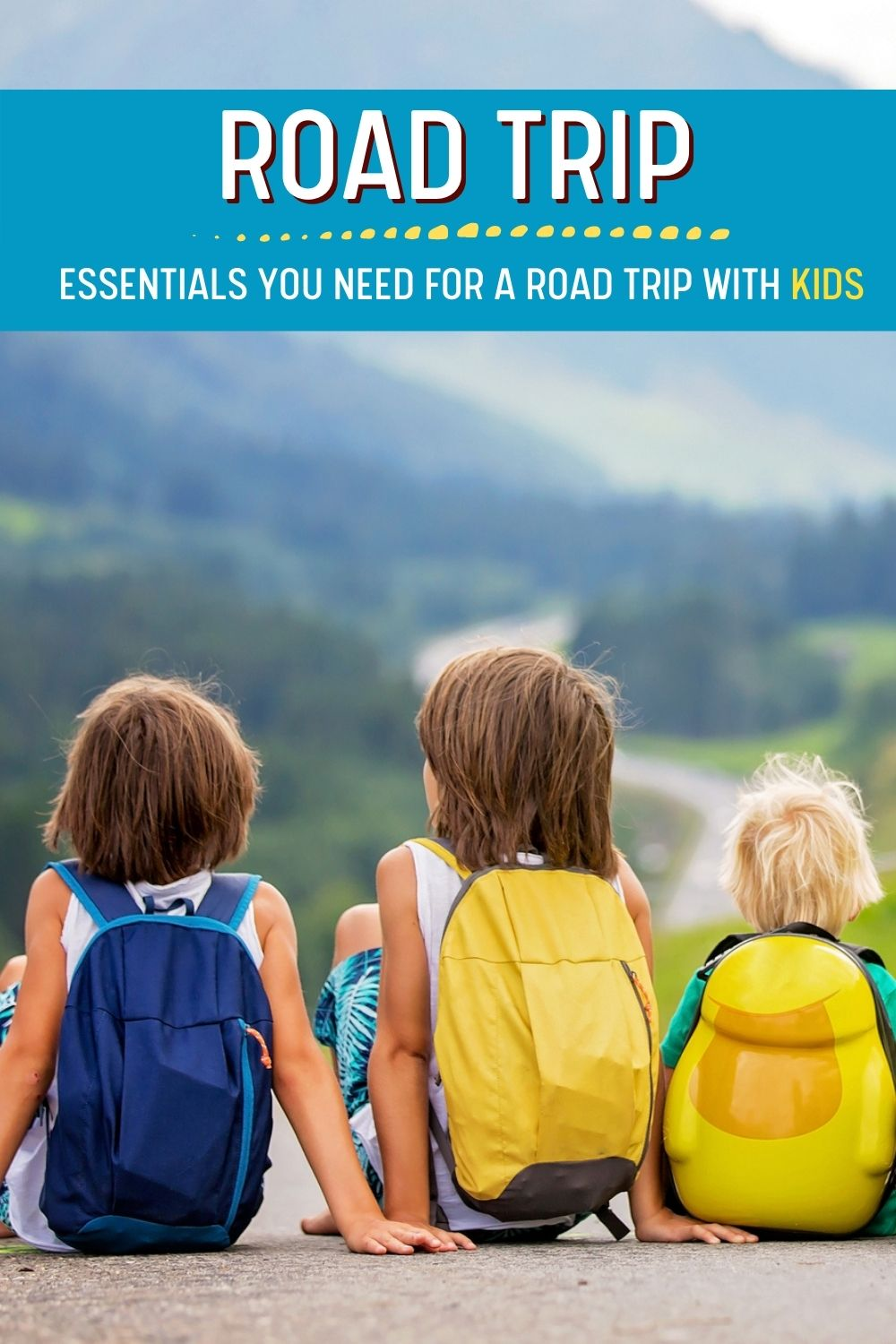 3 kids sitting on road with backpacks