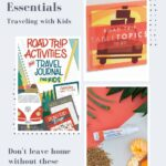 Collage of travel books and hand sanitizer