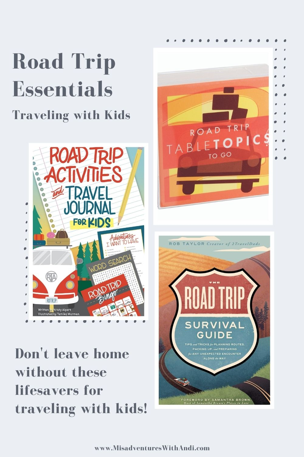 Collage of travel books for road trips