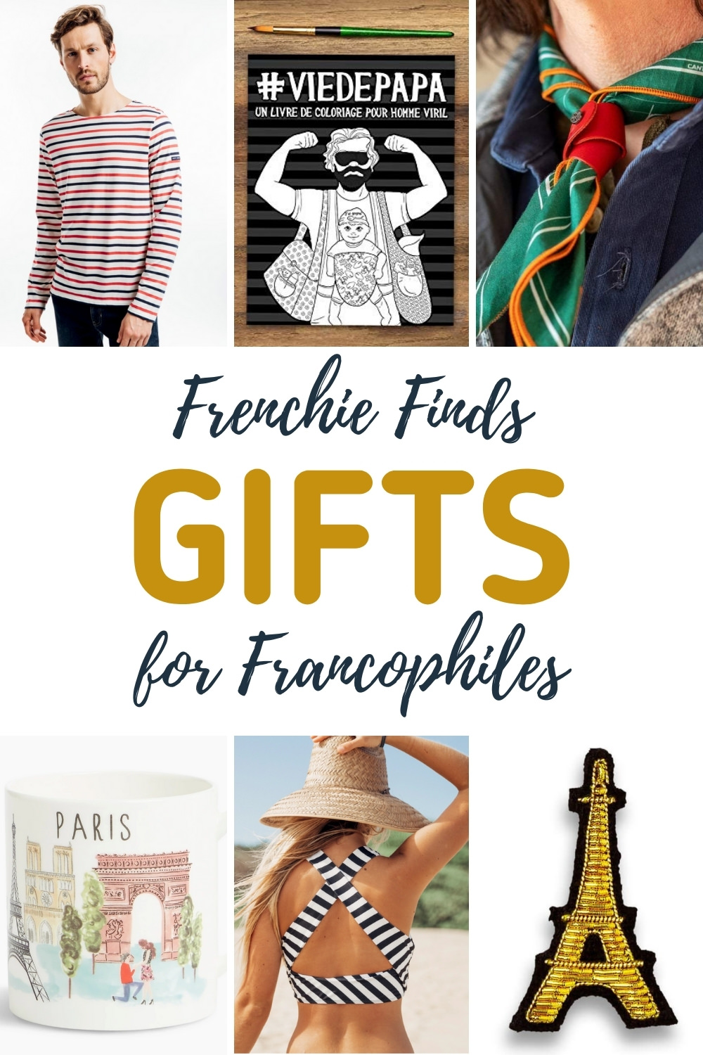 Collage of french themed gifts