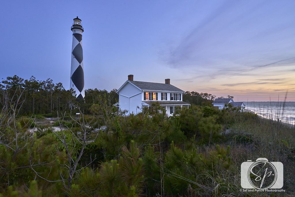 Lighthouse at sunset on Cape Lookout National Seashore
