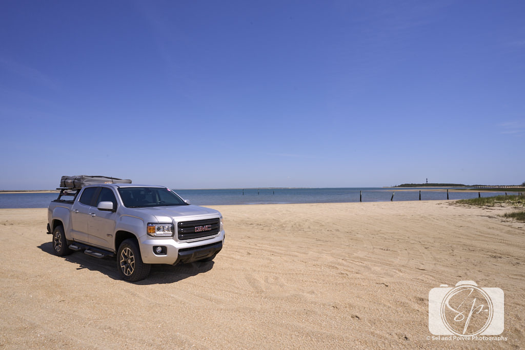 Our truck on the beach on the bay side of Cape Lookout National Seashore