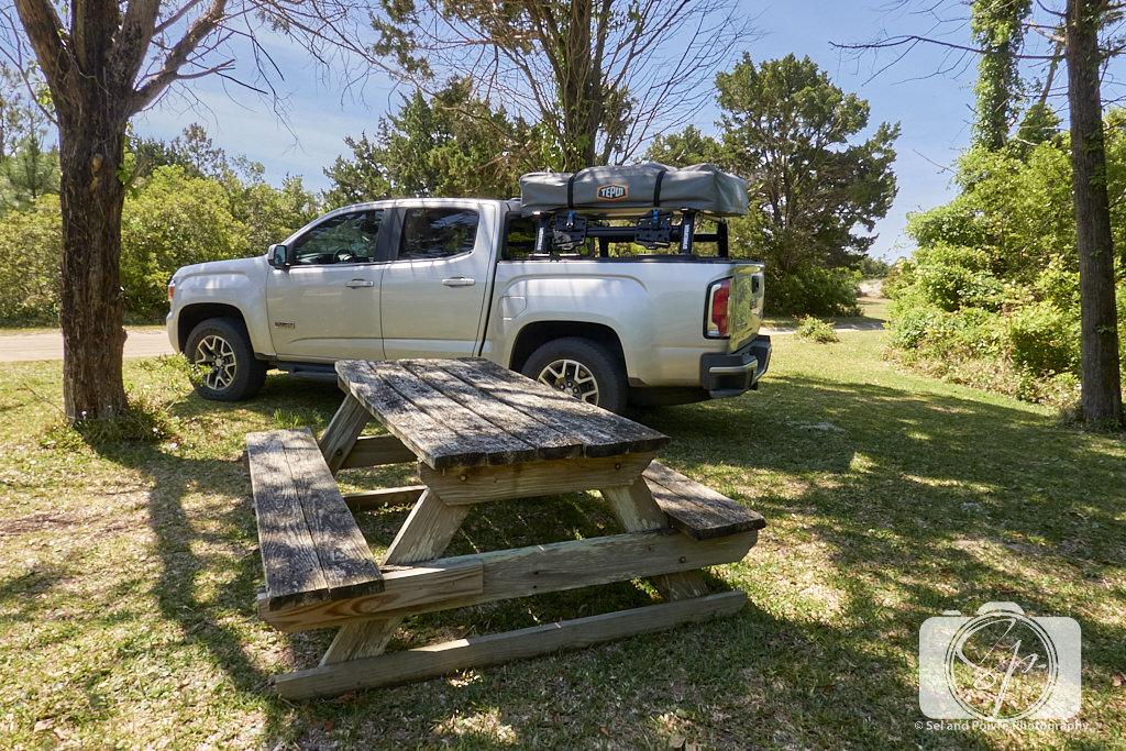 Picnic spot near the coast guard station on Cape Lookout National Seashore