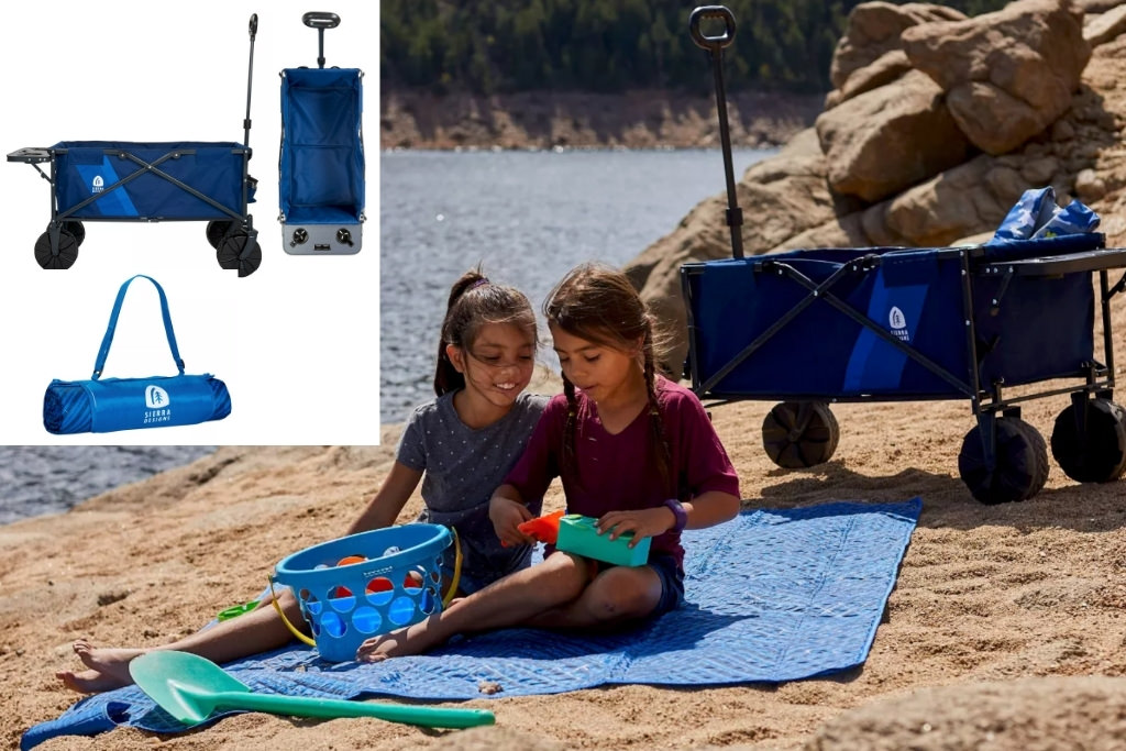 2 little girls on the beach with a Sierra Design's Deluxe Collapsible Wagon