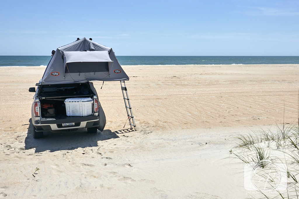 Truck tent camp on the beach on Cape Lookout National Seashore