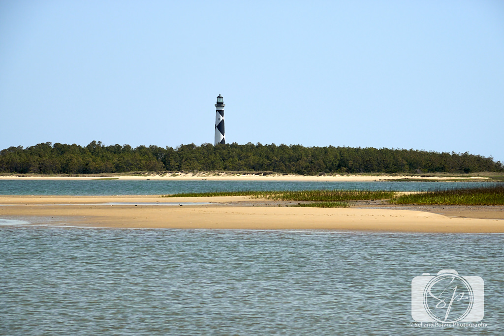 View of the Lighthouse from the beach on Cape Lookout National Seashore