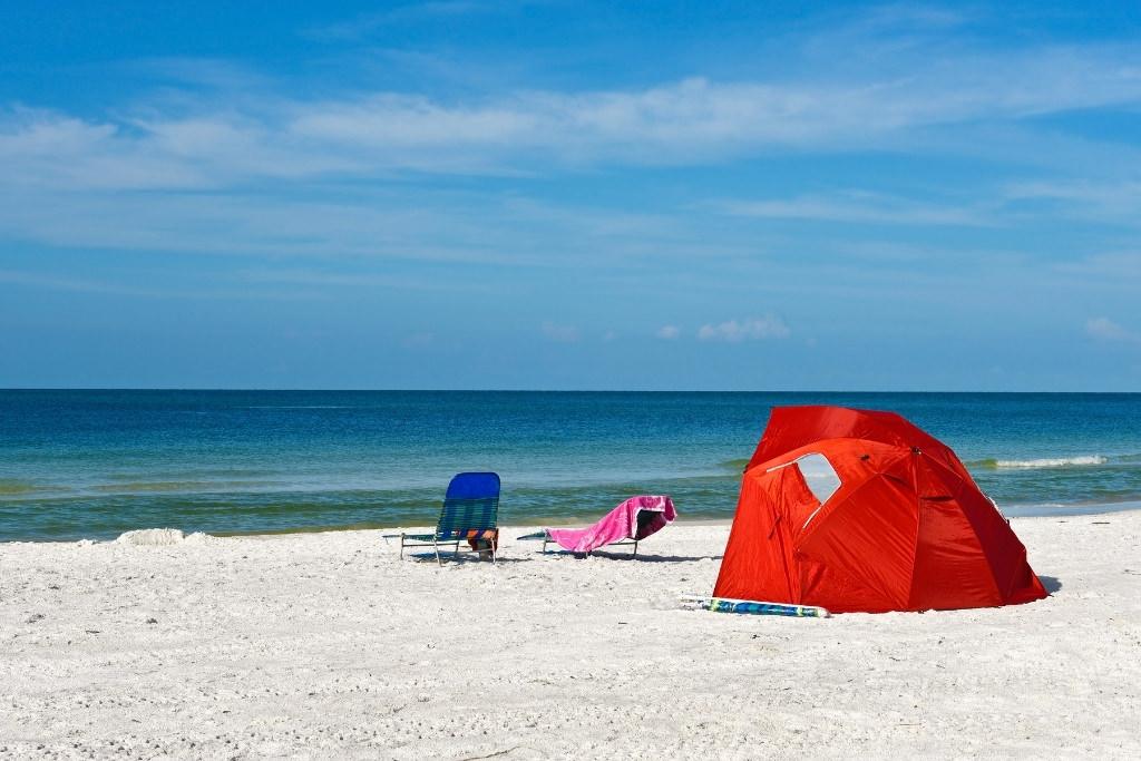 sun shelter on the beach