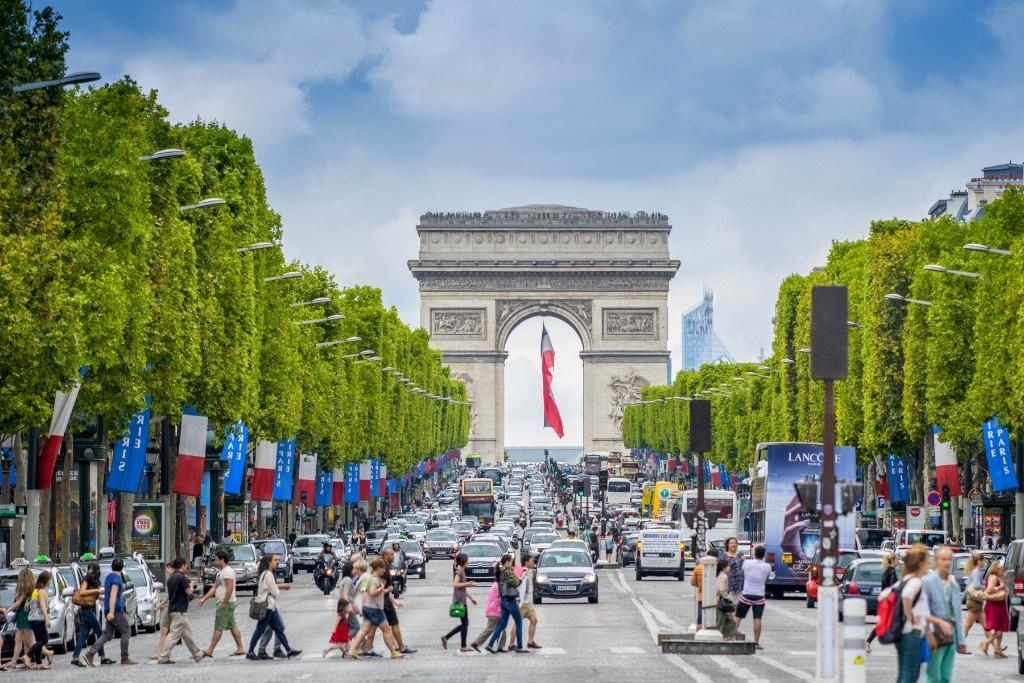 people walking on the Champs-Élysées