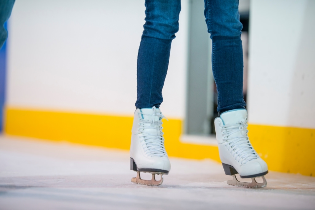 ice skates on ice in indoor rink