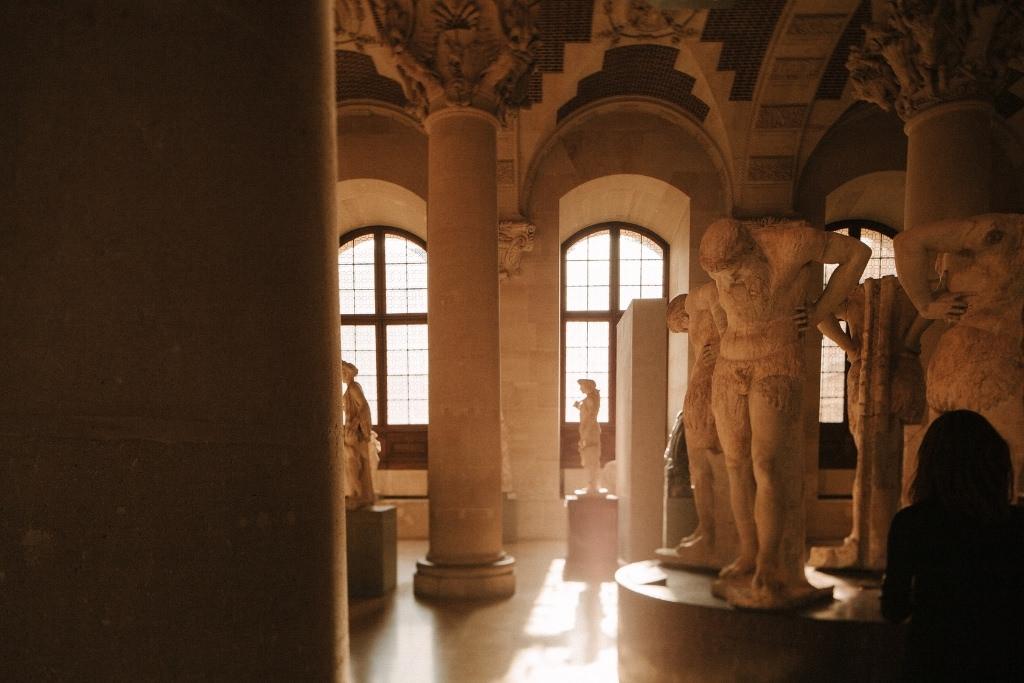 Inside the Louvre on a summer evening