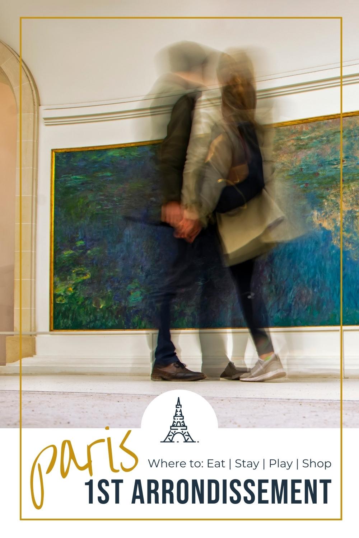 Couple inside the Orangerie Museum in Paris