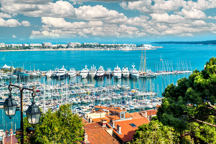 Panoramic view of Le Suquet- the old town,  Port Le Vieux and La