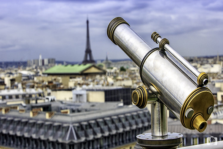 Paris view of Eiffel Tower from rooftop