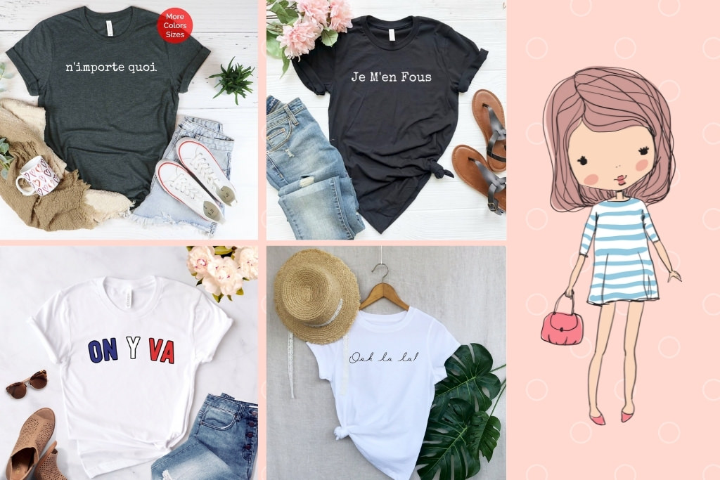 French-themed t-shirts on Etsy
