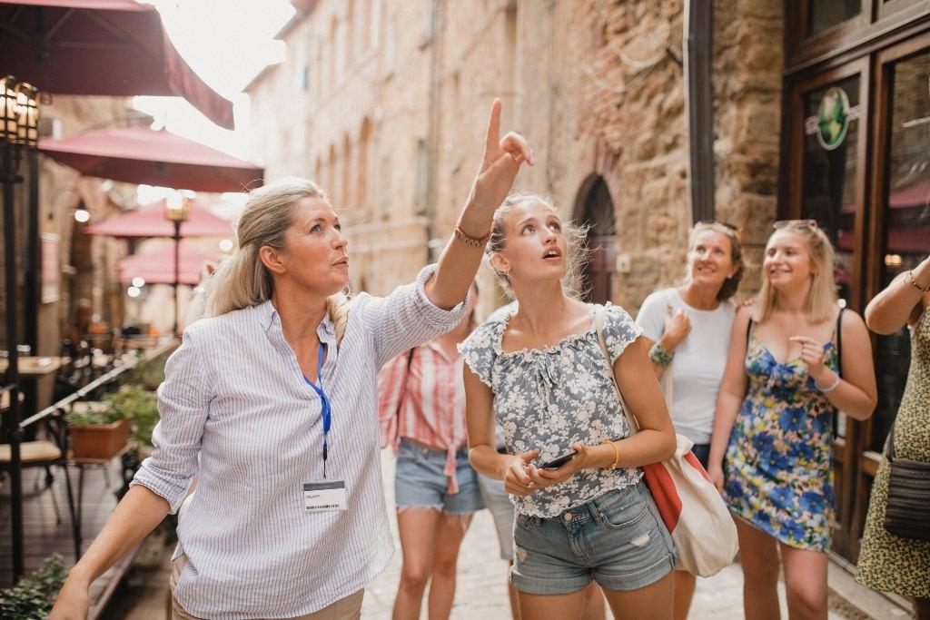 woman giving a tour