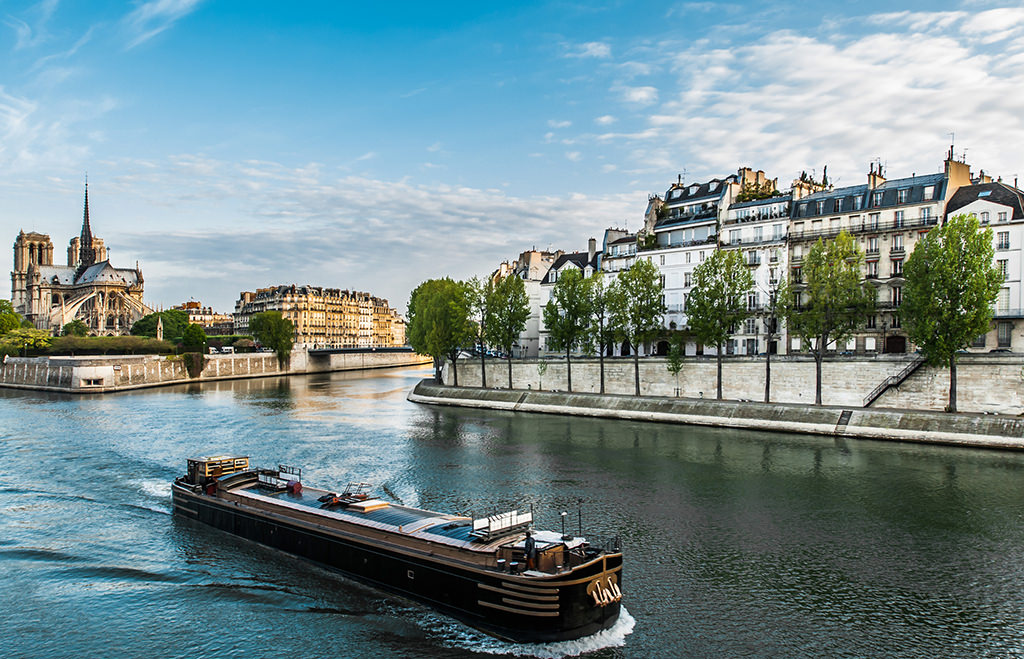 peniche on the seine river in the city of Paris in france