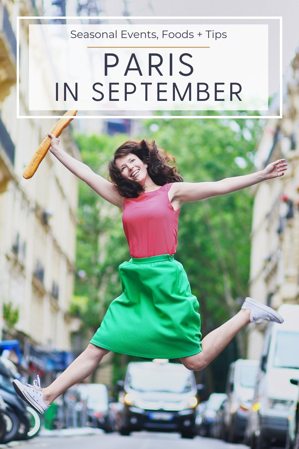 girl leaping the air with baguette