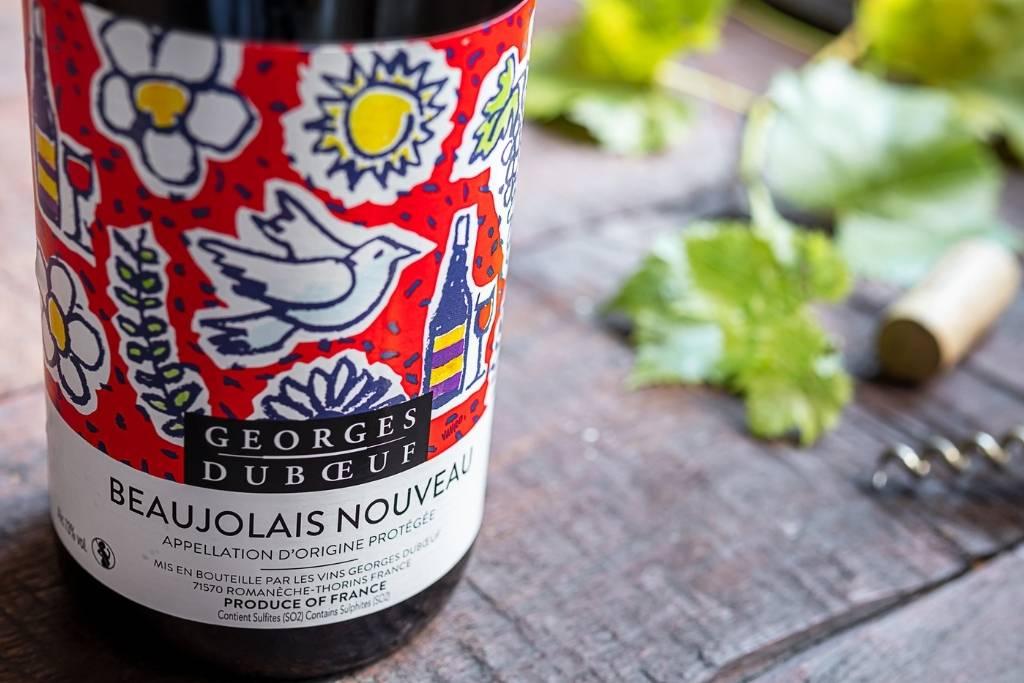bottle of Nouveau Beaujolais