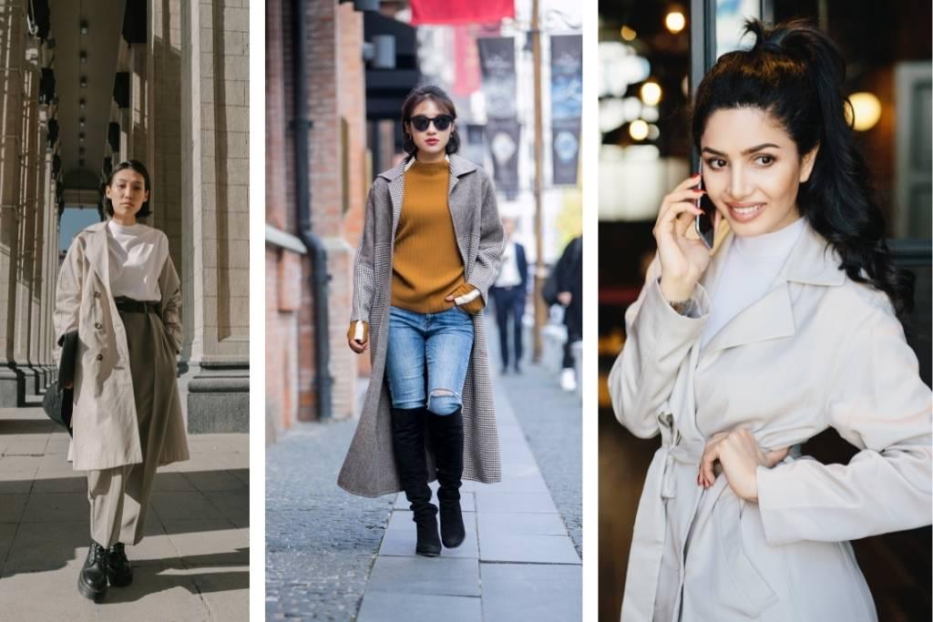 3 girls wearing trench coats